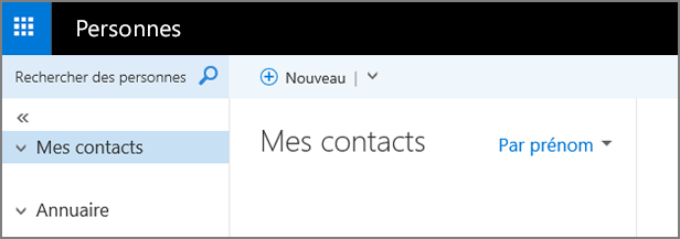 Image illustrant l'apparence de la page Contacts dans Outlook Web App