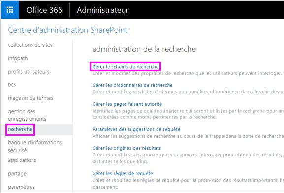 Page d'administration de la recherche dans le Centre d'administration SharePoint
