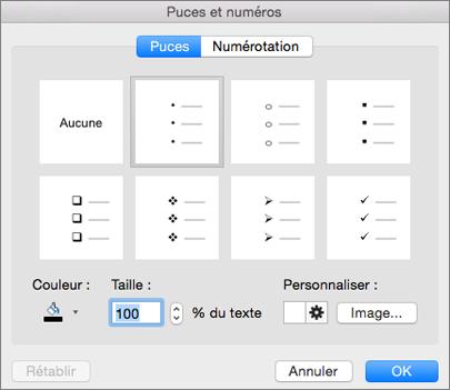 Boîte de dialogue Puces et numéros dans Office pour Mac