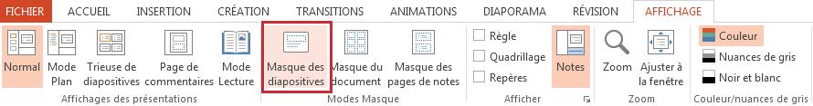 L'option Masque des diapositives se trouve dans l'onglet Affichage.