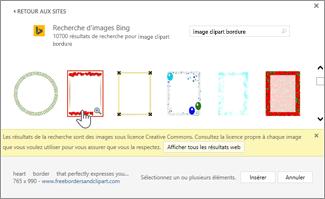 Sélectionner une image clipart de bordure à utiliser