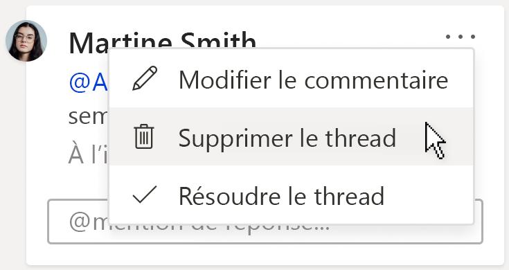 Image d'un commentaire montrant l'option supprimer le thread sous le menu actions du thread plus sur la carte de commentaires.