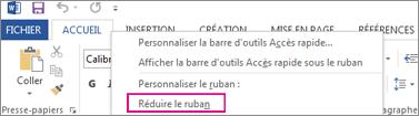 Commande Réduire le ruban obtenue suite à un clic droit sur un onglet du ruban dans Word2013