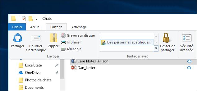 Partage d'un fichier avec des personnes spécifiques sur un réseau