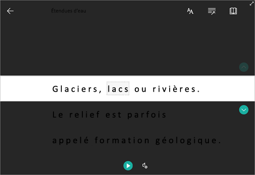 Interface de Focus sur lignes
