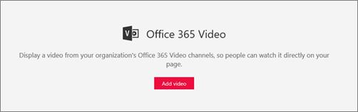Composant WebPart Office 365 vidéo