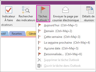 Capture d'écran du bouton Tâches Outlook dans OneNote2016.