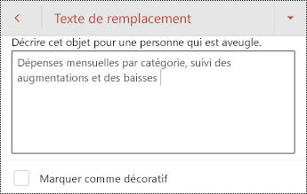 Texte de remplacement pour un tableau dans PowerPoint pour Android.