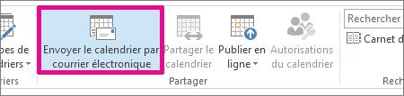 Dans l'onglet Accueil, cliquez sur Envoyer le calendrier par courrier électronique