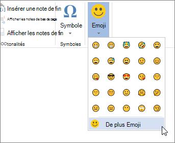 Cliquez sur plus Emojis sur Emojis bouton sous l'onglet Insertion pour choisir parmi tous les emojis disponibles.