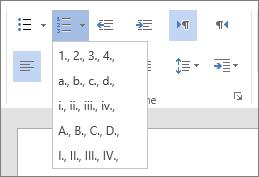 Capture d'écran de l'option Numérotation dans le groupe Paragraphe de l'onglet Accueil, avec les options de nombre et de lettre pour les listes séquentielles