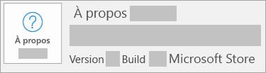 La capture d'écran montrant la version et sous-version correspond à Microsoft Store