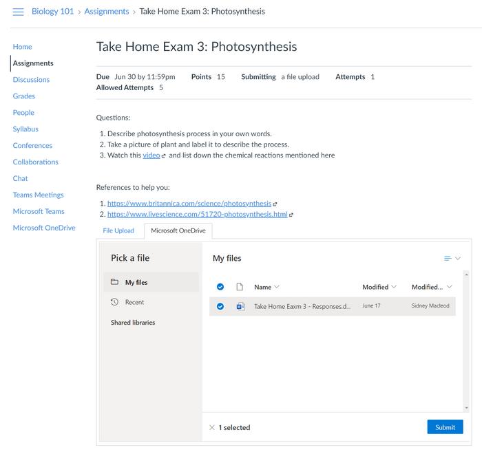 Onglet Devoirs pour Sélectionner un fichier avec l'onglet OneDrive surbrill