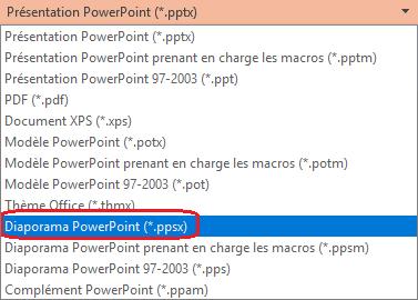 La liste des types de fichiers dans PowerPoint inclut «Diaporama PowerPoint (.ppsx)»