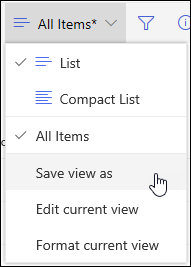 Option Enregistrer sous du menu Affichage de liste de SharePoint Online
