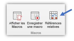 capture d'écran illustrant le bouton «Utiliser les références relatives»