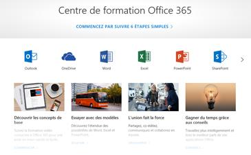 Page d'accueil du Centre de formation Office avec des icônes pour les différentes applications Office et des vignettes pour les types de contenu disponibles