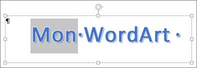 Texte WordArt en partie sélectionné