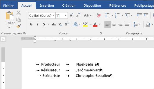 Un exemple affiche le texte aligné avec les taquets de tabulation sur la règle.