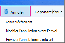 Options de l'annulation de réunion