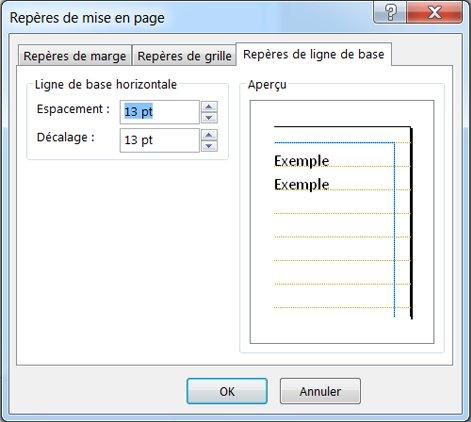 Boîte de dialogue Repères de mise en page affichant l'onglet Repères de ligne de base