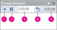 Zone des minutages d'enregistrement dans PowerPoint