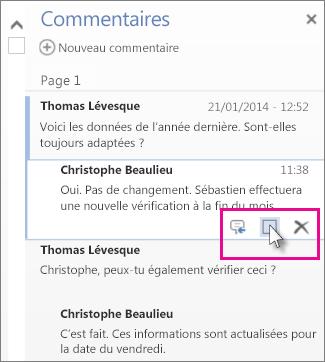 Image de la commande de marquage des commentaires comme traités. Cliquez sur un commentaire pour afficher la commande.