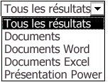 Choix de résultats comprenant Tous, Documents, Documents Word, Documents Excel et Présentations PowerPoint
