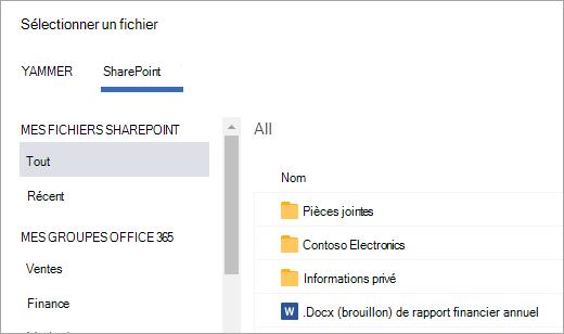 Liste des fichiers SharePoint