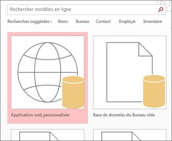 Bouton Application web personnalisée sur l'écran de démarrage.