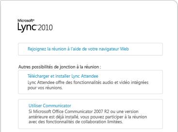 Image de la fenêtre du navigateur Lync