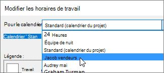Ressources dans la liste pour le calendrier