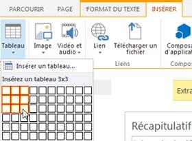 Insérer un tableau dans le site web public SharePoint Online