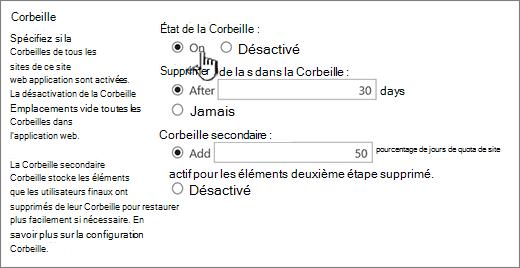 Corbeille section Paramètres de la page Paramètres généraux d'application web