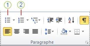 Bouton Puces et bouton Numérotation de Word2010