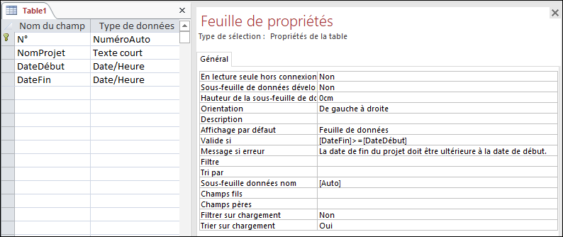 Règle de validation de table dans le Concepteur de tables Access.