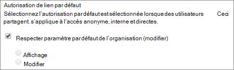 Capture d'écran des autorisations de liaison par défaut pour une collection de sites