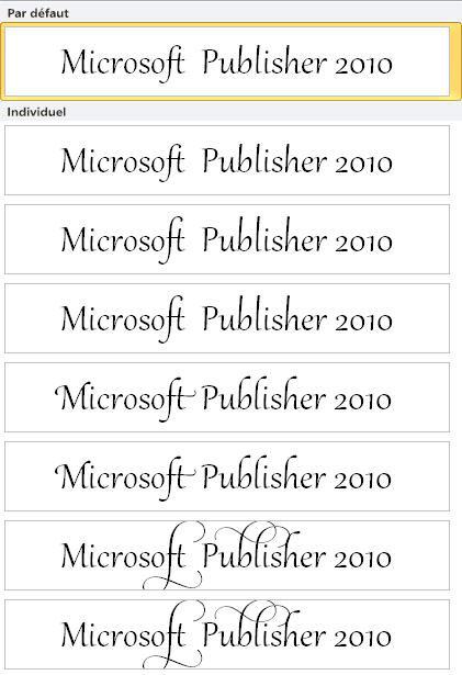 Jeu stylistique Publisher2010 pour la typographie avancée dans les polices OpenType