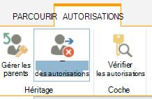 Le contrôle d'autorisations de liste/bibliothèque montrant le bouton Arrêter les autorisations personnalisées