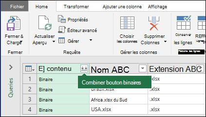 Appuyez sur le bouton combiner des fichiers binaires à partir de la colonne de contenu de requête ou de la section de regroupement dans le ruban Power Query