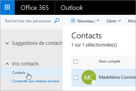 Capture d'écran du curseur pointant sur le bouton Contacts dans la page Contacts.