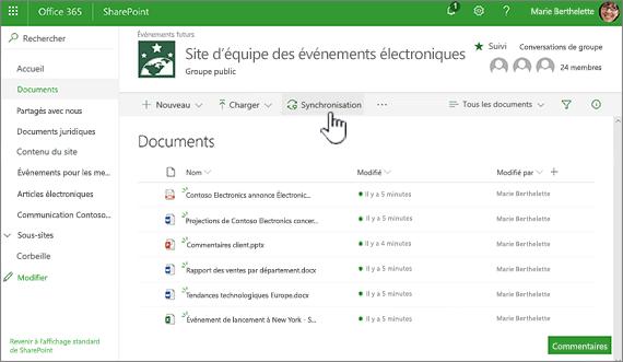 Bibliothèque de documents avec le bouton de synchronisation sélectionné