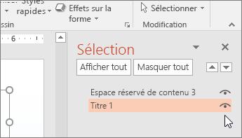 Capture d'écran du volet Sélection montrant l'icône représentant un œil en regard de l'espace réservé Titre