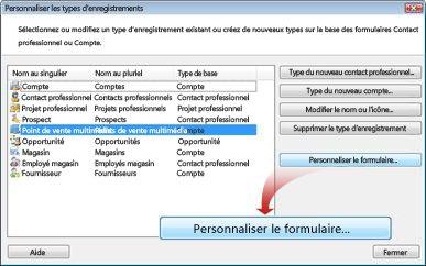 Boîte de dialogue de personnalisation des enregistrements existants ou de création de nouveaux enregistrements