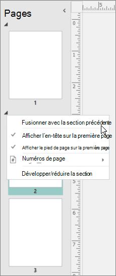 Capture d'écran montre une section sélectionnée avec le curseur en pointant sur la fusion avec l'option de la Section précédente.