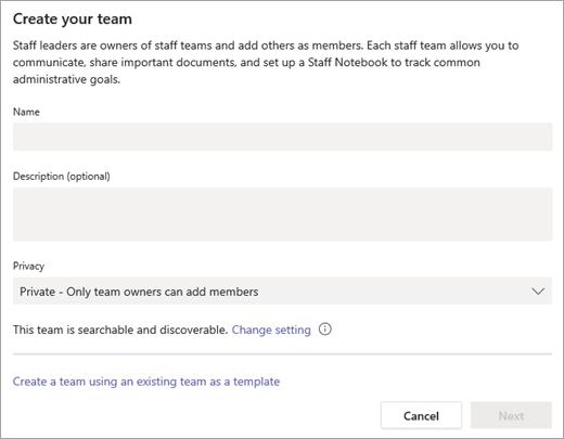 Entrez un nom pour votre équipe, ainsi qu'une description.