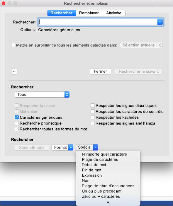 Utiliser des caractères génériques dans la boîte de dialogue Rechercher et remplacer