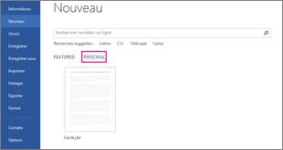 Onglet Personnel montrant votre modèle personnalisé après un clic sur Fichier > Nouveau