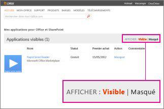 Afficher les applications pour Office visibles ou masquées