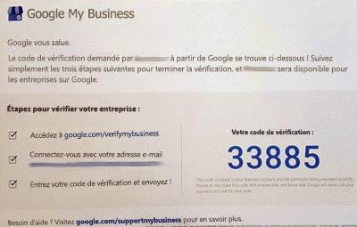 Capture d'écran: Microsoft Listings - vérifier votre carte postale Google entreprise